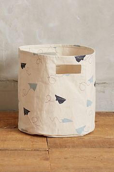 Paper Airplanes Canvas Bin - anthropologie.com