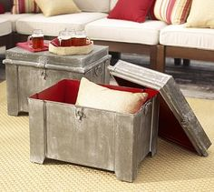 Galvanized Metal Storage Cube #potterybarn Purchased this and love it. Using as a side table.