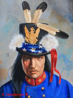 "Golden Eagle is 40"" x 30"", oil on linen This painting is a continuation of my 'Top Hat"" series. In the 1880's The Powers That Be in the United States Government would invite American Indian leaders to Washington. There they were given gifts such as clothing, flags, hats etc. The recipient would then use these items as they saw fit. This hat is decorated with parts of a flag, an emblem from a helmet, ribbons and feathers See my Blog http://khendersonart2.blogspot.com"