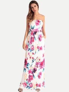 b89f41ca83 Vinfemass Bohemian Floral Printed Bandeau Long Dress