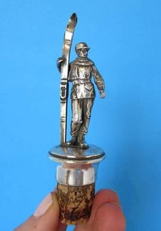 Antique WMF Silver Alpine Skier/Skis Figural Bottle Stopper Germany