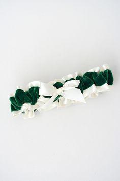 Custom Green Velvet and Ivory Wedding Garter-by The Garter Girl