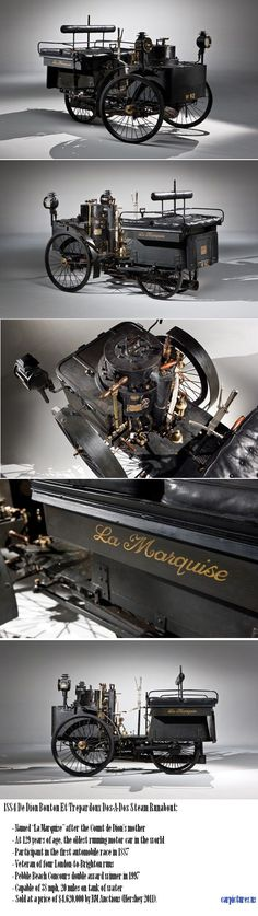 1884 De Dion Bouton Et Trepardoux Dos-A-Dos Steam Runabout, the oldest running motor car in the world.: