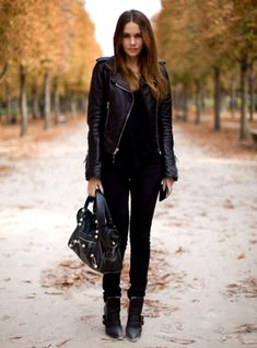 Shop this look on Lookastic:  http://lookastic.com/women/looks/biker-jacket-tank-tote-bag-skinny-jeans-ankle-boots/6331  — Black Leather Biker Jacket  — Black Tank  — Black Leather Tote Bag  — Black Skinny Jeans  — Black Leather Ankle Boots