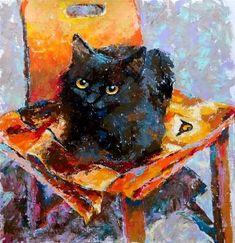 Black cat & orange chair - Valeriia Lazarieva