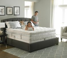Perfect Day iSeries by Serta Vantage (replaces the Applause - Consumer Reports rated mattress for back and side sleepers support). Furniture Upholstery, Bedroom Furniture, Bedroom Decor, Bedroom Ideas, Mattress On Floor, Best Mattress, Small Room Bedroom, Small Rooms, Comfort Mattress