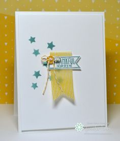 Stamp: Amazing Birthday; Ink: Lost Lagoon, Daffodil Delight;Banner Framelits. Jennifer Timko - Stampin' Up! CAS