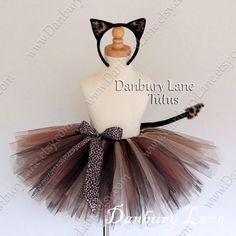 Girl's Cat tutu costume set Cheetah or Leopard Cat by DanburyLane, $52.95