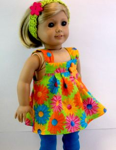 a105fc8bbad American girl 18 inch Doll Clothes Lime Green Floral Dress Turquoise  Leggings Headband Doll Clothes Toys