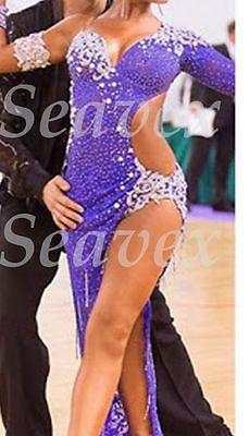 Las mujeres Salón de Baile Salsa Latin Rumba Cha Baile Vestido nos 6 UK 8 Morado De Encaje astilla