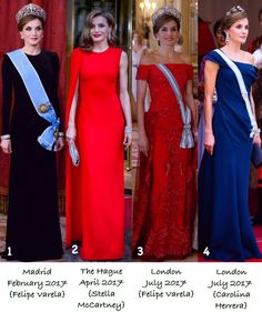 "1,169 Likes, 42 Comments - 🇪🇸Spanish Royal Family🇪🇸 (@spanish.royals) on Instagram: ""Memorable gowns worn by Queen Letizia this 2017. (For a closer look at the gowns, please view…"""