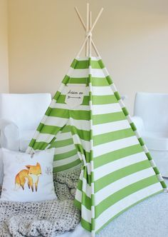 Green Stripe Indoor/Outdoor Fabric Play Tent Teepee Playhouse