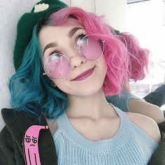 Pink for days. Pink for days. Related posts: pastel pink hair inspo pink, bridal hair accessories to inspire hairstyle low updo with white and pink flowers annamelostnaya via SKIP BAD HAIR DAYS! 😍 I could see doing this with curled hair to add volume. Pretty Hairstyles, Girl Hairstyles, Drawing Hairstyles, Hair Inspo, Hair Inspiration, Half And Half Hair, Half Colored Hair, Multi Coloured Hair, Girl Hair Colors