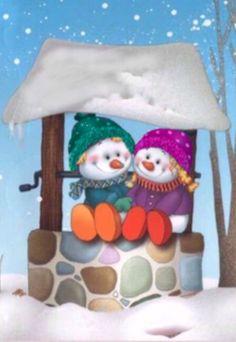 Muñecos Navidad sobre un pozo, tarjeta navideña