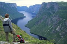 Photo of a tourist overlooking the beautiful scenery of Western Brook Pond in Newfoundland, Canada.
