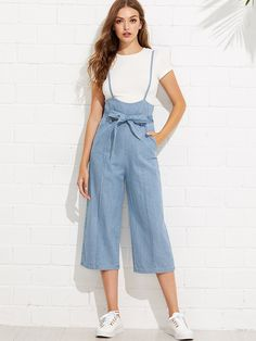 To find out about the Tie Waist Wide Leg Denim Overalls at SHEIN, part of our latest Denim Overalls ready to shop online today! Teen Fashion Outfits, Fashion Pants, Look Fashion, Korean Fashion, Fashion News, Casual Outfits, Summer Outfits, Fashion Dresses, Cute Outfits