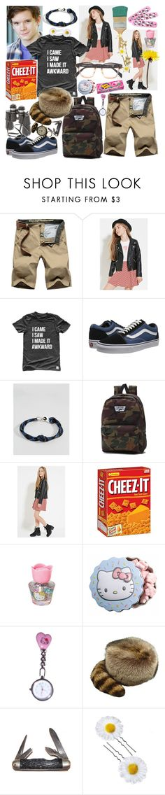 """""""like a boomerang"""" by elliewriter ❤ liked on Polyvore featuring Forever 21, Vans, Icon Brand, Hello Kitty, Market, men's fashion, menswear and elliewriterblogstory"""