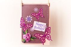 Happy Birthday card, Flowers and butterflies card, Roses and butterflies, Greeting card, Handmade card, Crafted card, Quilled card by AlluyaHandmadeArt on Etsy