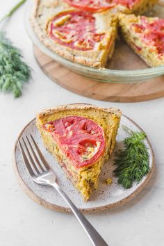 vegan quiche with tomatoes and dill