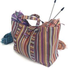 Striped Upholstery Tote Knitting Bag Project by ButtermilkCottage