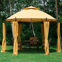 Outsunny x Round Patio Garden Metal Framed Gazebo Marquee Party Tent Canopy Shelter Pavilion with Sidewalls Orange - - Garden and Outdoor Screened Gazebo, Gazebo Canopy, Backyard Canopy, Garden Canopy, Patio Gazebo, Diy Canopy, Garden Gazebo, Canopy Outdoor, Outdoor Decor
