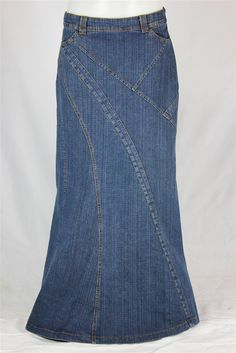 Natalie Seamed Long Jean Skirt, Sizes 6-18 at the skirt outlet