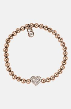 Michael Kors 'Brilliance' Pavé Heart Stretch Bracelet available at #Nordstrom