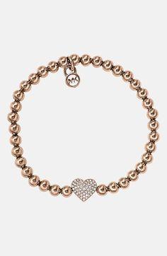 Michael Kors 'Brilliance' Pavé Heart Stretch Bracelet available at #Nordstrom
