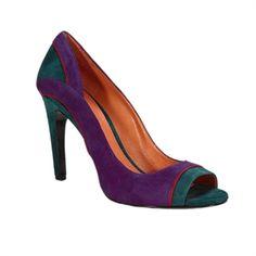 Via Spiga Rashida Color Block Open Toe Suede Pump #VonMaur #ViaSpiga #Teal #Purple #Red #Colorful #OpenToe