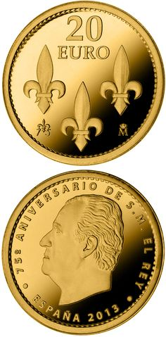 euro: birthday of His Majesty the King.Country: Spain Mintage year: 2013 Face value: 20 euro Diameter: mm Weight: g Alloy: Gold Quality: Proof Mintage: pc proof Piece Euro, Money Bank, Gold And Silver Coins, 75th Birthday, Commemorative Coins, Gold Bullion, World Coins, European History, Coin Collecting