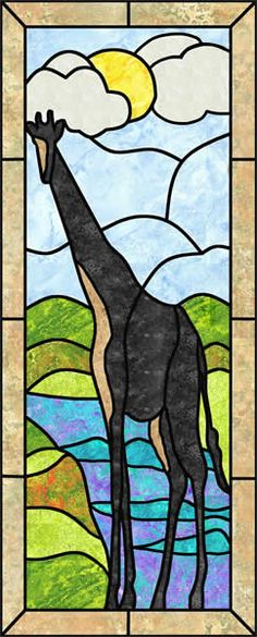 Giraffe Stained Glass Quilt Pattern PES-107 (intermediate, wall hanging)