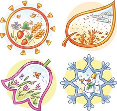 Buy The Four Seasons in Cartoon Hand Drawn Pictures by katya_dav on GraphicRiver. The four seasons in cartoon hand drawn pictures, Vector