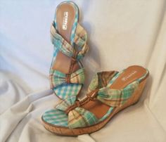 45.53$  Watch here - http://vijhi.justgood.pw/vig/item.php?t=1s097p715545 - Sperry top-sider women's shoes Sz 9.5 M Shoreham wedges turquoise plaid cork 45.53$