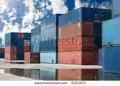 containers on a harbor
