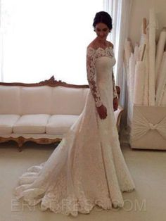 Bryana's favorite - ericdress.com - Ericdress Elegant Off The Shoulder Long Sleeves Wedding Dress  - $163.67.