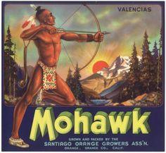 Original-MOHAWK-Indian-Native-American-BOW-ARROW-Orange-Crate-Label-NOT-A-COPY