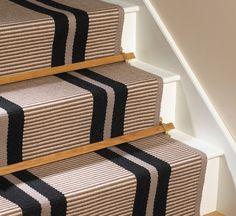 Flatweave Stripes. Transat Black PNT 16 Carpet by Hartley and Tissier