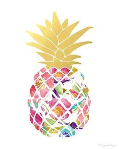 Pineapple Art Print Digital Art Watercolor Art by PennyJaneDesign #watercolorarts