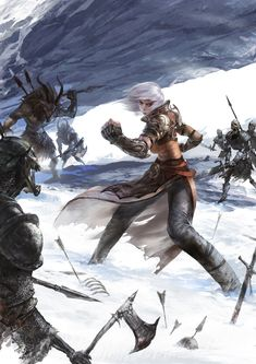 f Cleric Monk Med Armor Cloak Fists vs Demons w Skeleton minions battle story winter snow lg Fantasy Setting, High Fantasy, Fantasy Rpg, Fantasy Artwork, Dungeons And Dragons Characters, Dnd Characters, Fantasy Characters, Female Characters, Character Concept