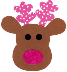 Reindeer fabric iron on applique DIY by patternoldies on Etsy, $4.25