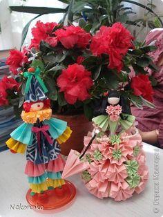 Куклы Кусудама Моделирование конструирование Оригами Куклы из бумаги Бумага фото 3