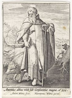 H. Antonius de Grote, Antonie Wierix (II), Hieronymus Wierix, 1565 - voor 1604 San Antonio, Saints, Christian, Antiques, Drawings, Painting, Image, Printmaking, Genoa