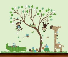 Pattern Leaf Tree with Owls and Jungle Animals Decals Set - Vinyl Wall Art Decal. $129.00, via Etsy.