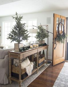 Simple Christmas Entryway Decor Do you have a small entryway? Today I'm sharing easy tricks and tips to style an entry with simple Christmas entryway decor. Farmhouse Decor, Decor, Farm House Living Room, Sweet Home, Furniture, Simple Christmas Decor, Christmas Home, Entryway Decor, Christmas Entryway