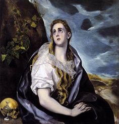 El Greco ~ De boetende Maria Magdalena ~ ca. 1575-1580 ~ Olieverf op doek ~ 108 x 101 cm. ~ Worcester Art Museum, Worcester (Mass.)