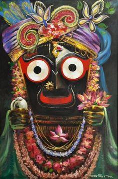 jaganath,sanatan dinda oil on canvas. Radha Krishna Wallpaper, Krishna Radha, Lord Krishna, Krishna Drawing, Krishna Painting, Indian Gods, Indian Art, Lord Jagannath, Krishna Images