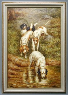 """Oil Painting in Wood Frame Hunting Dogs Searching Target by River 30x42"""" #Impressionism"""