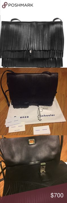 "NWT PROENZA SCHOULER Large Fringe Lunch Bag Guaranteed Authentic. Org retail: $1400. New, never worn; comes with tags, authenticity card, care card and dust bag. Black smooth leather, with front fringe details. Back slip pocket. Interior lined in leather. Adjustable shoulder strap. 11""L, 8.5""H, 2.5""W. Some spots on the inside from storage. Faint creasing at the back. NO TRADES. Open to offers through the offer button ☺ Proenza Schouler Bags Shoulder Bags"