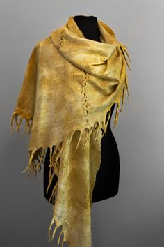 Tribal felted shawl, deerskin, hand dyed by parvana