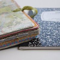 """I just love Ashley's tutorial on how to turn a lowly composition book into a cool journal!  These blank books are a steal right now as """"Back to School"""" sales are going on!  I bought a pile of them at Walmart last year for a quarter each!"""